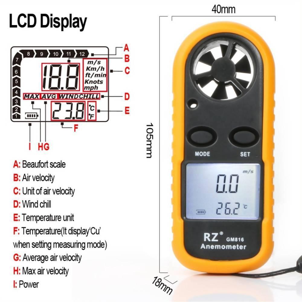 Ανεμόμετρο Φορητό Ψηφιακό GM816 - Sfyri.gr - Ηλεκτρονικό Πολυκατάστημα