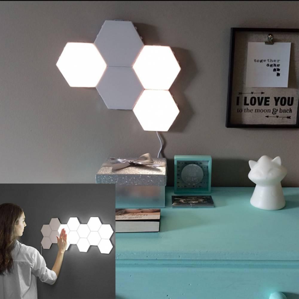 Εξαγωνικό Επιτοίχιο Μαγνητικό Φωτιστικό LED Αφής Σετ 6τμχ - Sfyri.gr - Ηλεκτρονικό Πολυκατάστημα