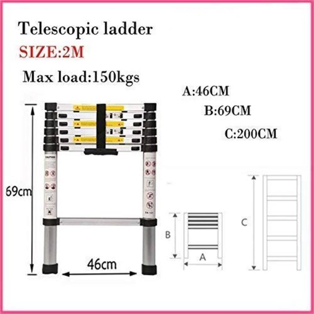 JLAD07 Τηλεσκοπική Σκάλα Αλουμινίου 7 Σκαλιών - Sfyri.gr - Ηλεκτρονικό Πολυκατάστημα