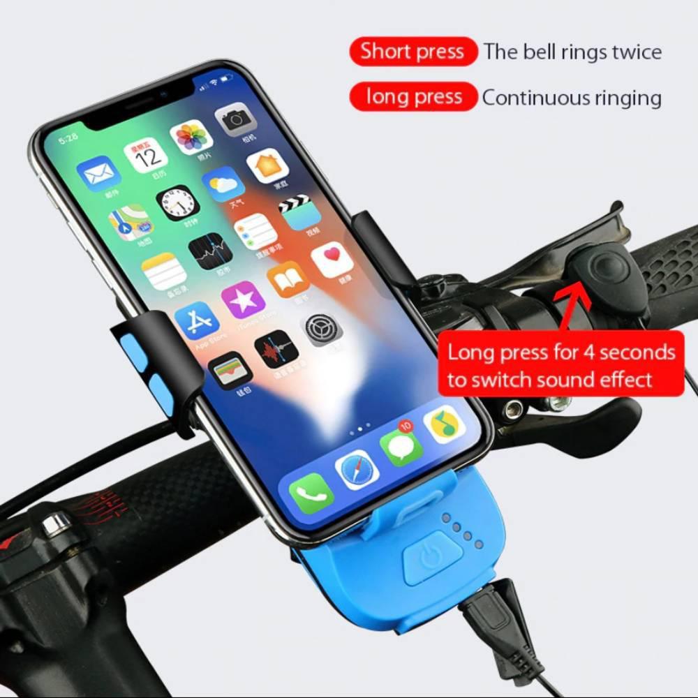 Led Φως Ποδηλάτου 550Lumens, Κόρνα 130dB και Βάση Κινητού