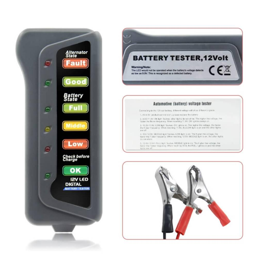 Tester Μπαταρίας 12V με LED – CNBJ 802 - Sfyri.gr - Ηλεκτρονικό Πολυκατάστημα