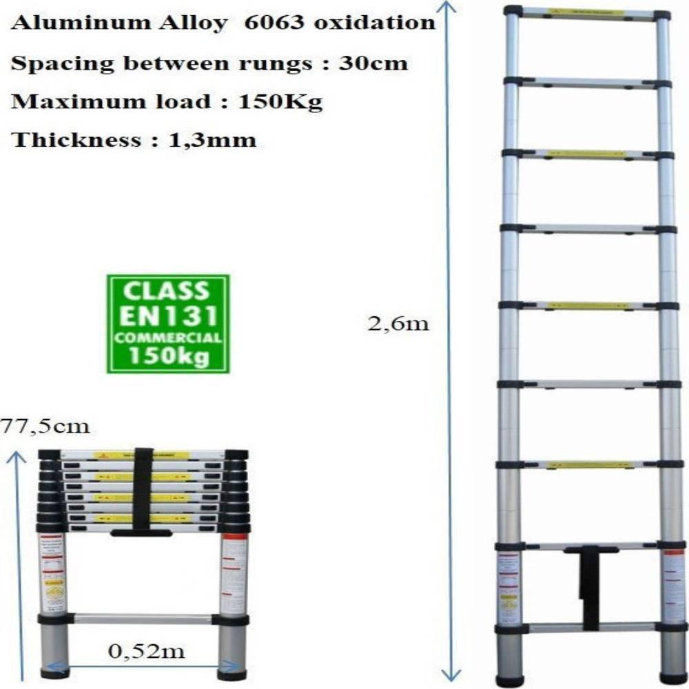 Τηλεσκοπική Σκάλα Αλουμινίου 9 Σκαλιών TL26 OEM - Sfyri.gr - Ηλεκτρονικό Πολυκατάστημα