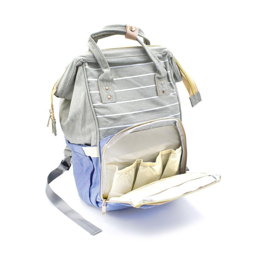 Τσάντα Μωρού Πλάτης Mommy Bag AiFi Γαλάζια - Γκρι Ριγέ