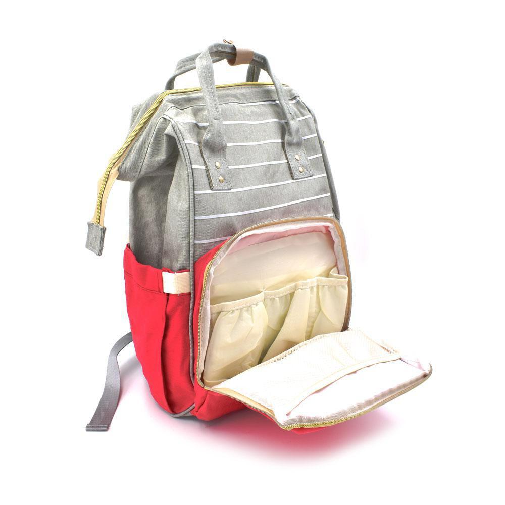 Τσάντα Μωρού Πλάτης Mommy Bag AiFi Κόκκινη - Γκρι Ριγέ