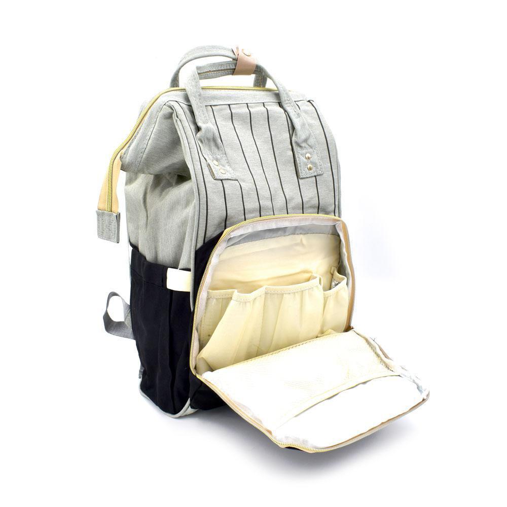 Τσάντα Μωρού Πλάτης Mommy Bag AiFi Μαύρο - Γκρι Ριγέ